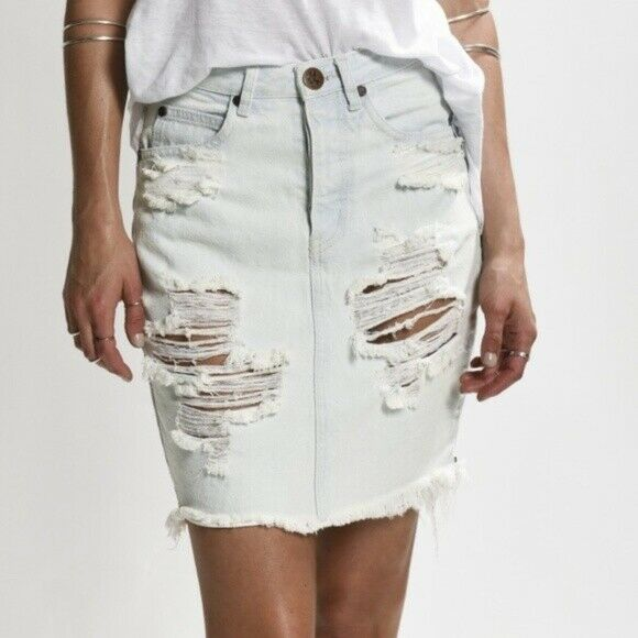 One Teaspoon Womens Size 26 White Skirt 2020 High Waisted Distressed Jeans Skirt
