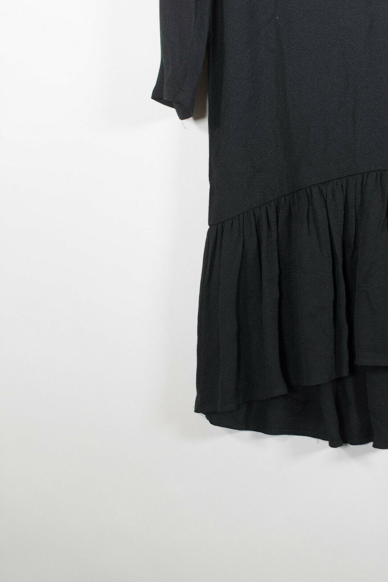 Joie Womens Small Black Dress Crepe Flare 3/4 Sleeve A Line Ruffle Knee Length