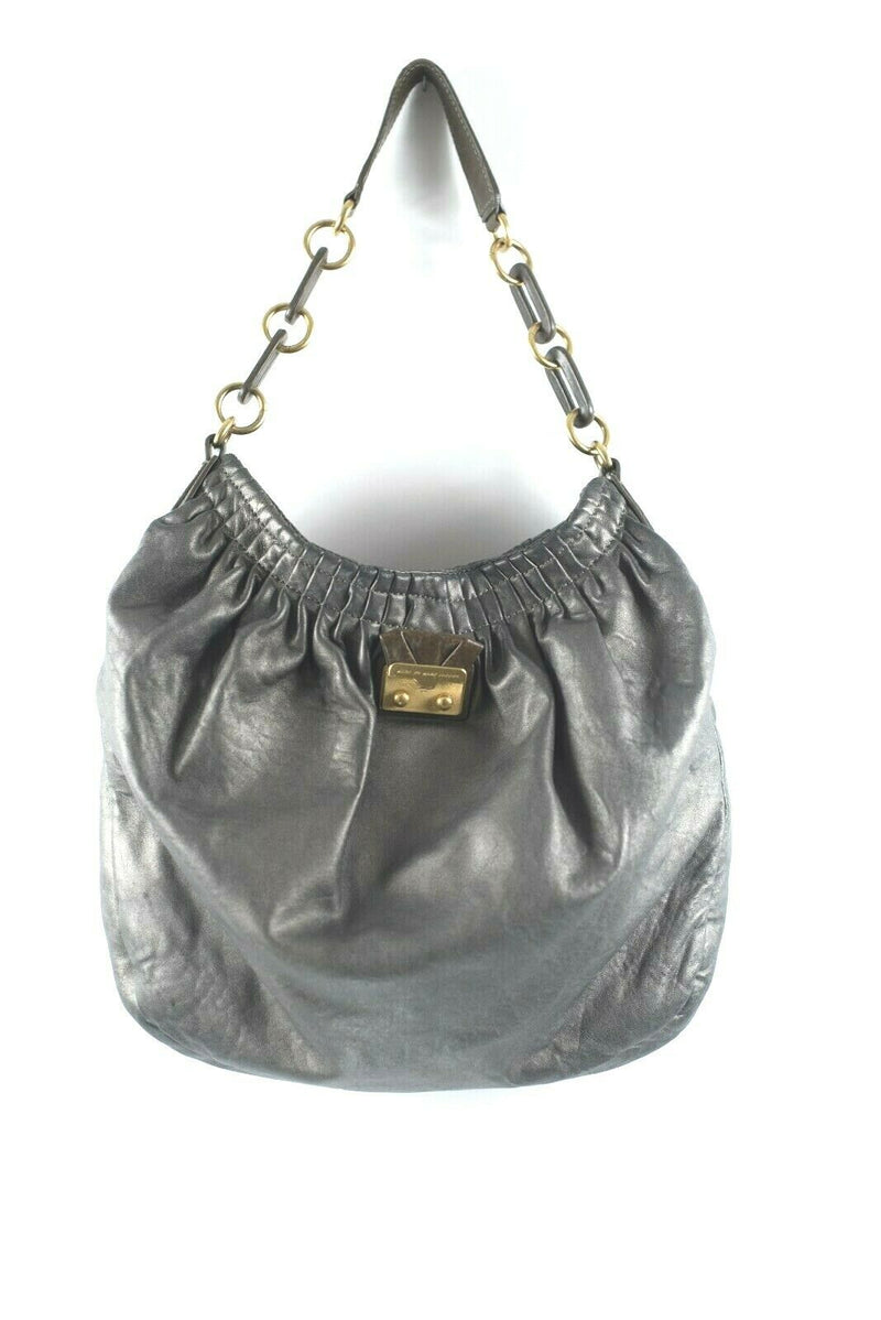 Marc by Marc Jacobs Womens Copper Pewter Purse Leather Hobo Handbag Strap Bag