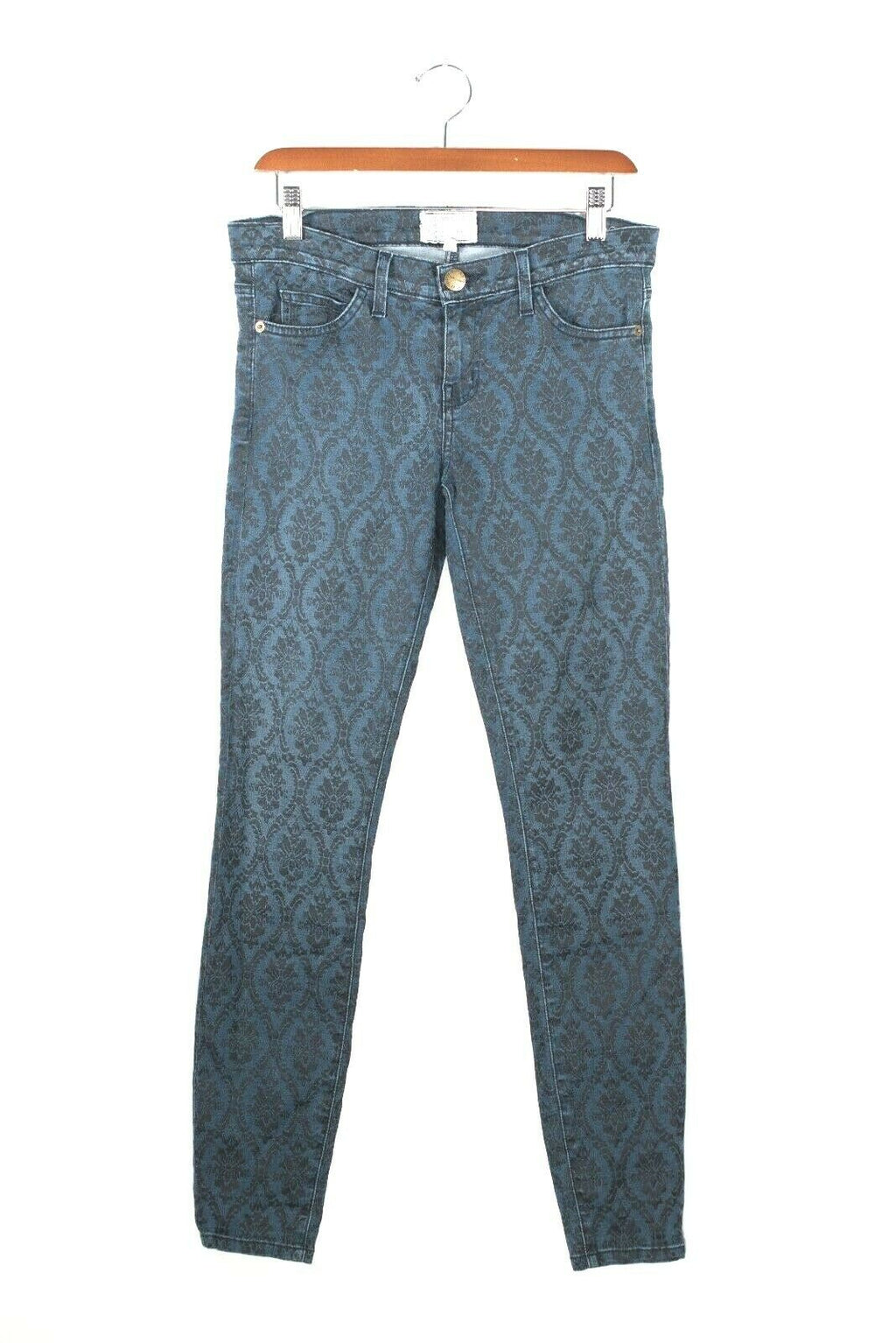 Current/Elliott Womens Size 28 Small Dark Blue Damask Print Skinny Jeans Pants