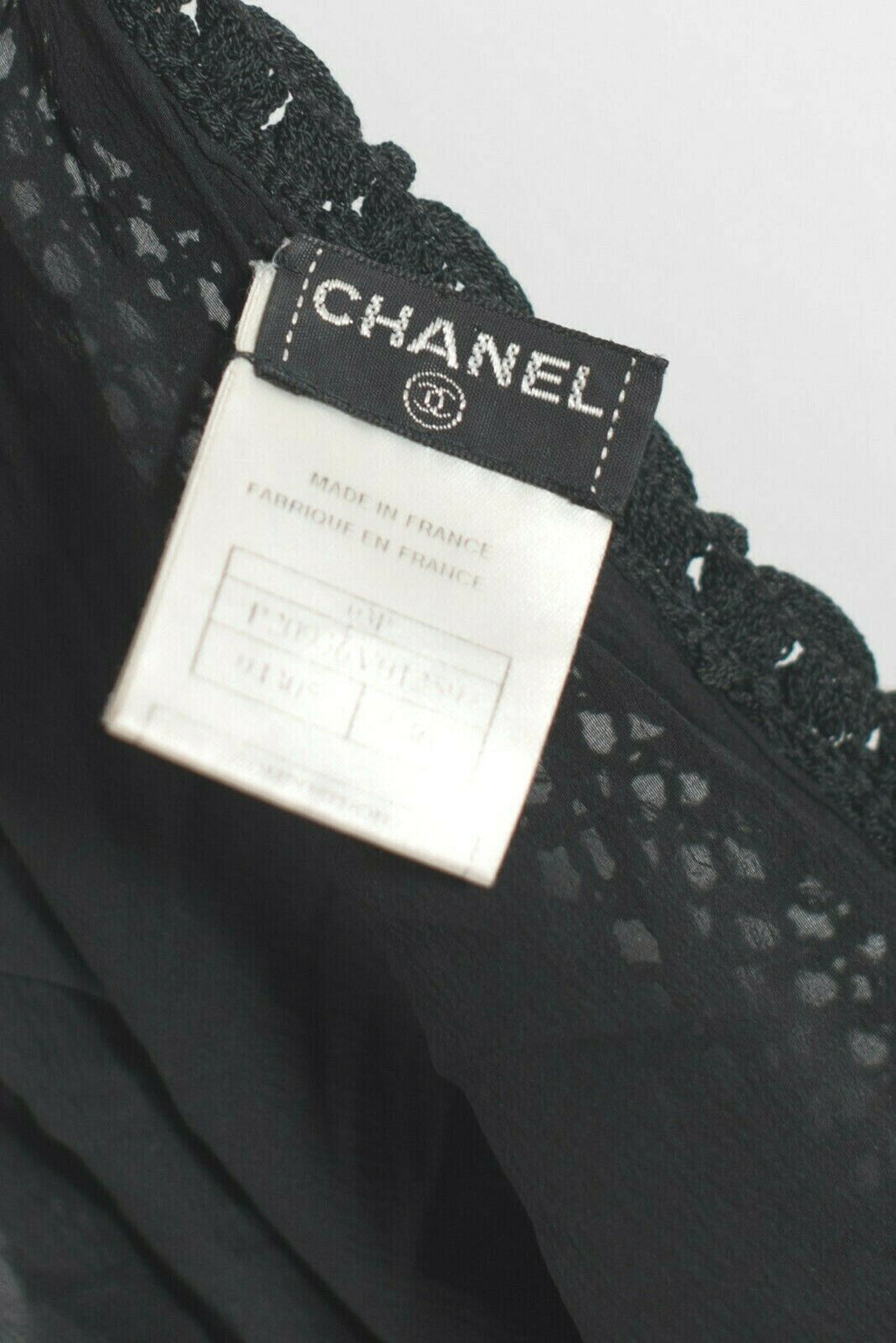 Chanel Womens 36 XS Black Slip Dress Crochet Lined Knit Mesh Mini 03P Collection
