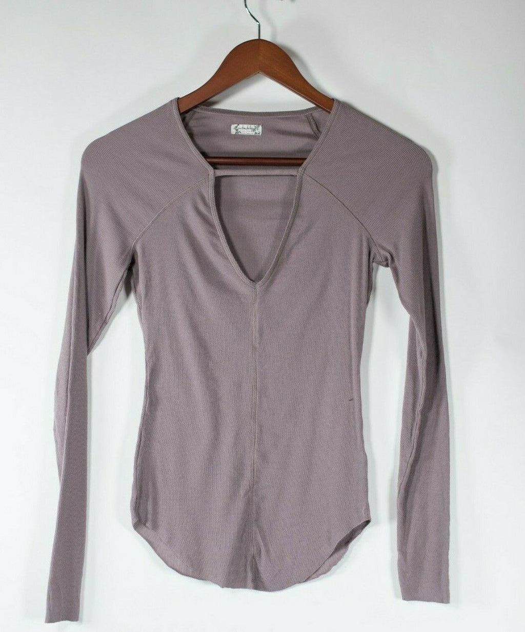 Free People Intimately Women's XS Mauve Purple Pullover Shirt Ribbed V Neck Top