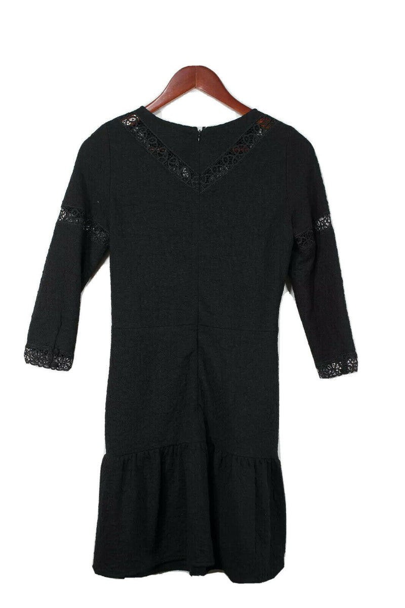 The Kooples Size Medium Black Crochet Dress NWT