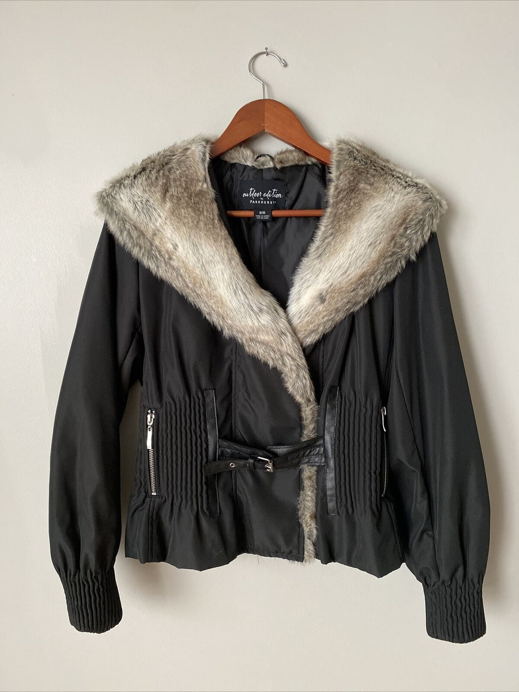 Outdoor Edition By Parkhurst Women's Size Medium Black Outdoor Jacket Faux Fur