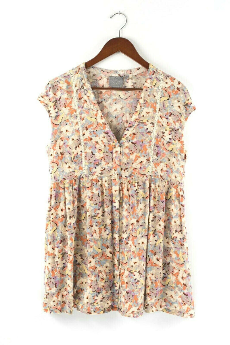 Vanessa Virginia Womens Size Small Beige Tunic Dress Floral Ladder Button Mini