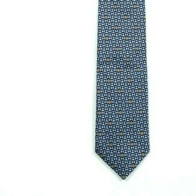 Canali Mens Navy Blue Gold Neck Tie Authentic Bold Geometric Print Italian Silk