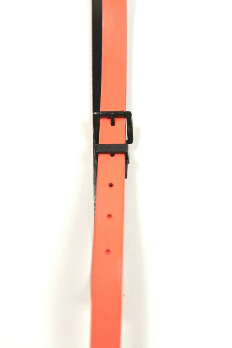 Michael Kors Womens Orange Waist Belt Leather Skinny Neon Patent Black Buckle
