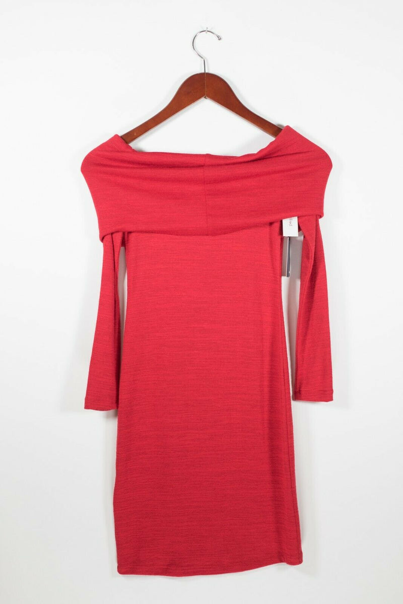 Wilfred Free Womens XXS Red Amilna Dress Off The Shoulder Long Sleeve Jersey NWT