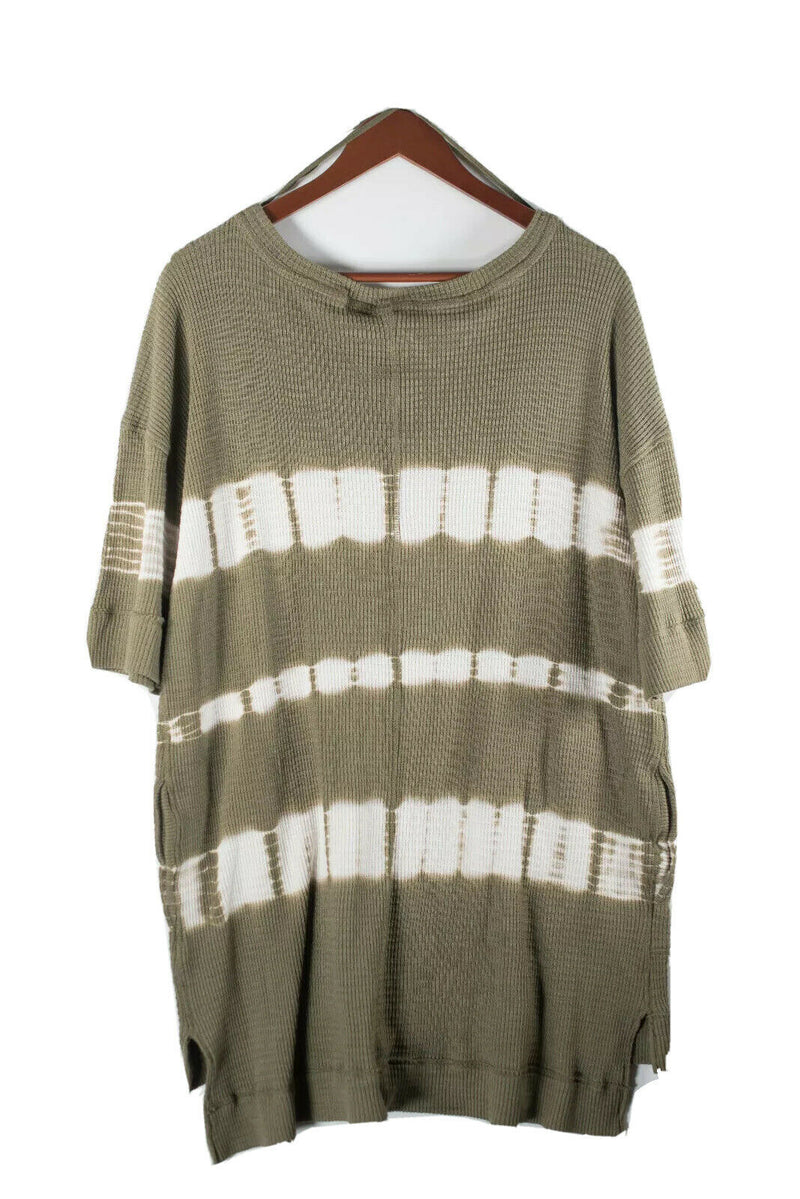 Free People We The Free Womens Medium Green Top Boho Oversized Thermal Tie-dye