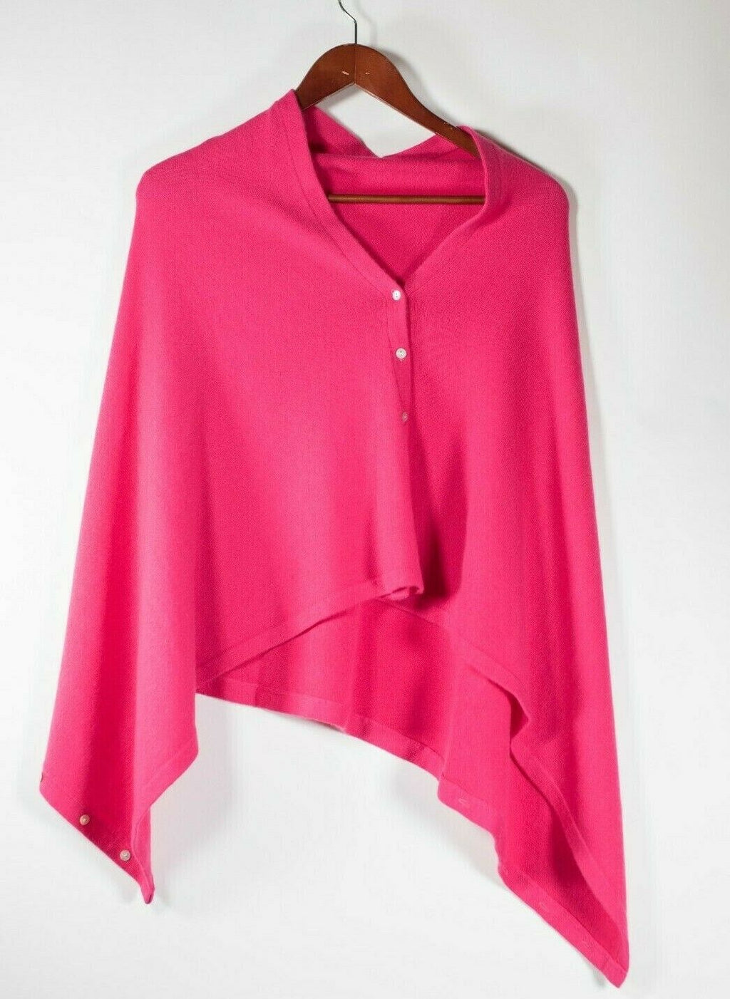 Women's One Size Hot Pink Cardigan Sweater Cashmere Sleeveless Buttons Top Shawl