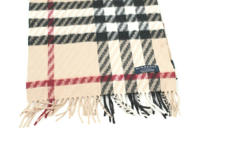 Burberry Womens Tan Scarf Classic Giant Check Cashmere Fringe Nova Check Auth