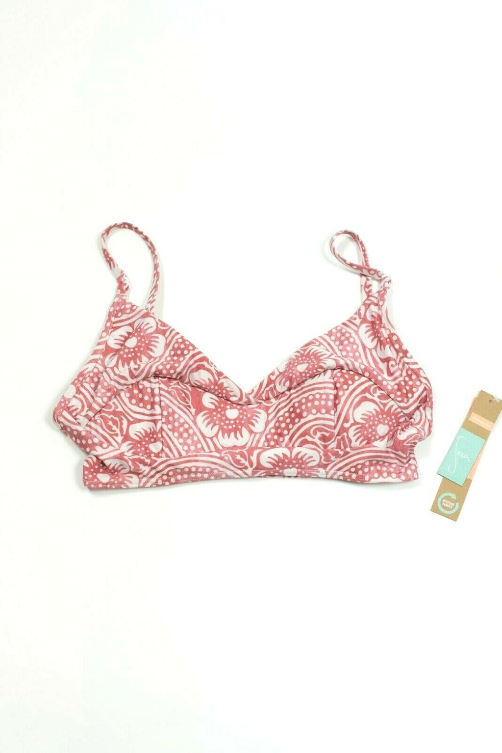 Seea Womens Small Pink Bikini Top Soleil Floral Crop Top Swimsuit Tank Shirt NWT
