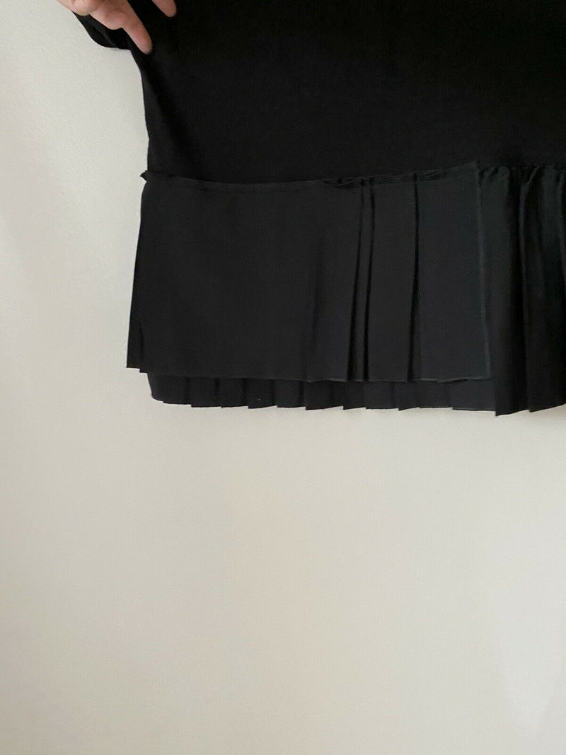 Pomandere Women's Size 46 XL Black Short Sleeve T-Shirt Pleated Blouse Wool Top