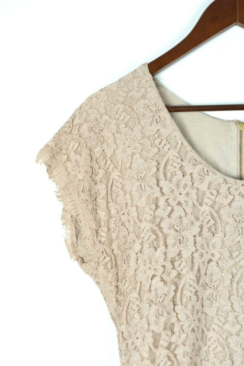 Diane Von Furstenberg Womens Size 12 Beige Dress Lace Dress