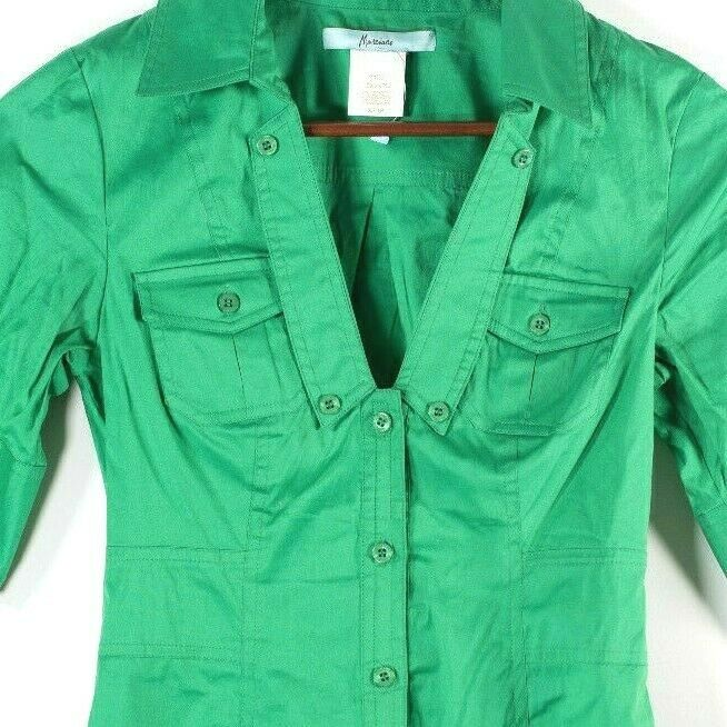 Marciano Womens XS Green Button Up Blouse 3/4 Sleeve Button Down V Neck Shirt