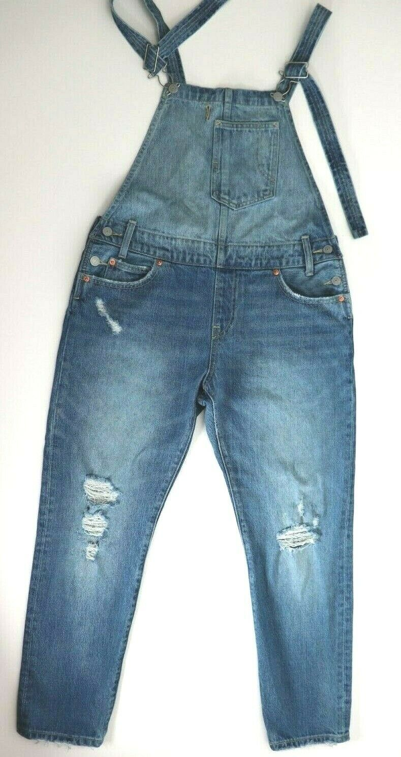Levi's Women Size 28 Small Blue Jeans Ripped Sleeveless Overalls