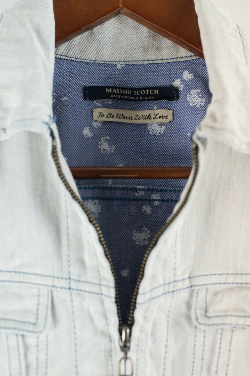 Maison Scotch Womens Petite XS Blue White Jacket Cropped Zipper Closure Denim