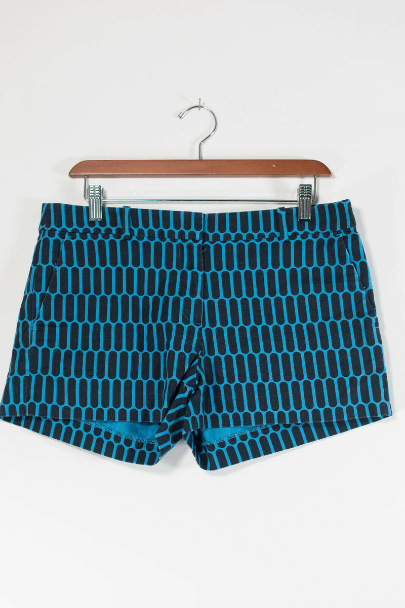 Michael Michael Kors Womens Size 8 Blue Black Shorts Cotton Geometric Printed