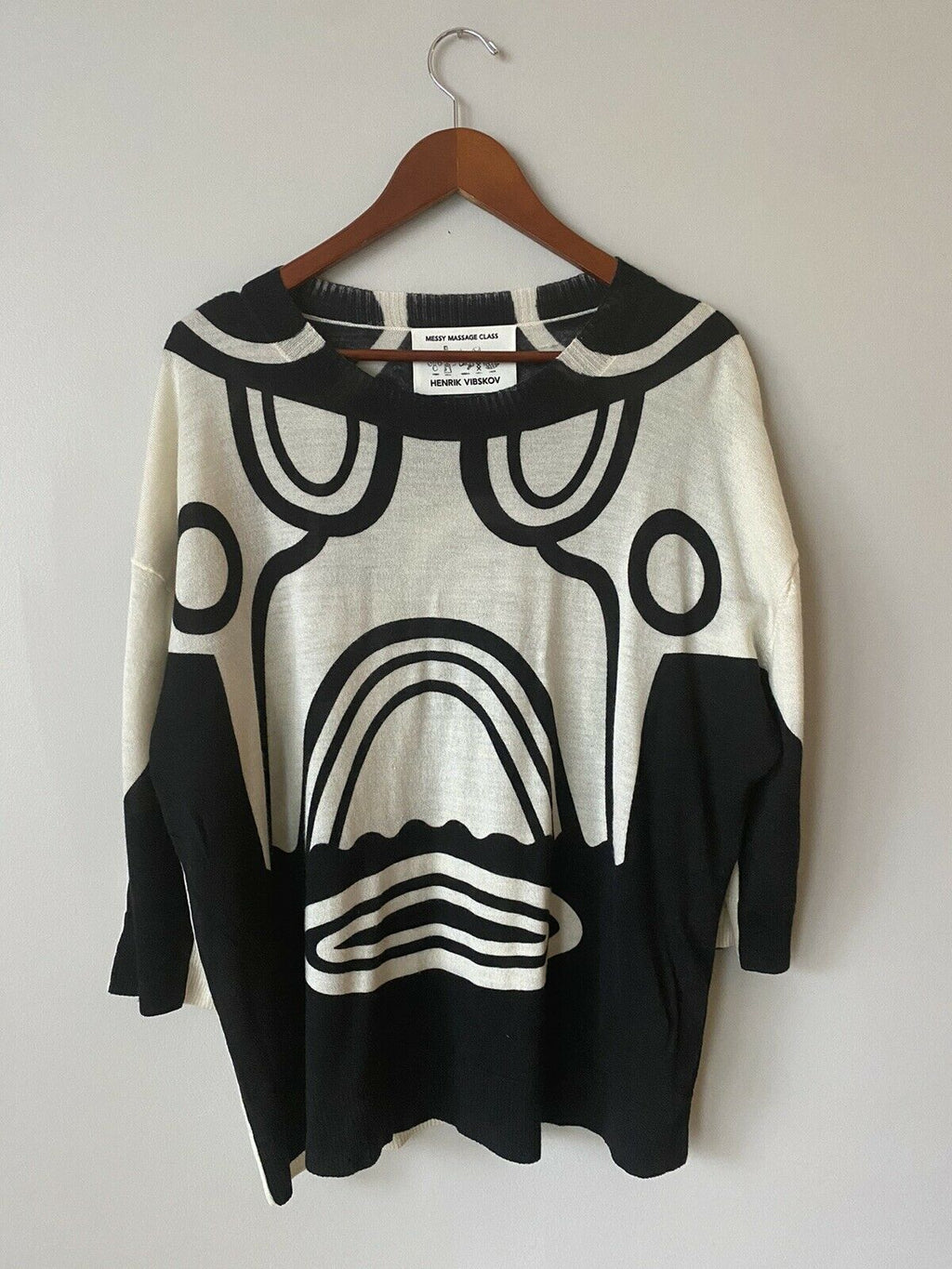 Henrik Vibskov Messy Massage Class Unisex Small Black Ivory Sweater Shirt A/W15
