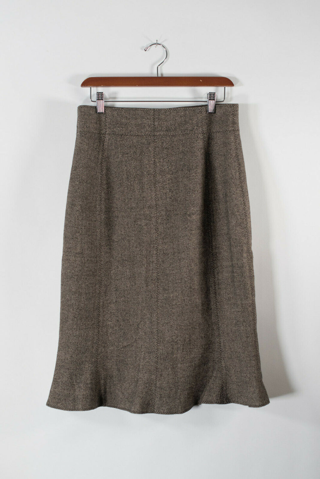 Boss Hugo Boss Womens 10 Medium Brown Skirt Midi Wool Blend Knit A Line Flare