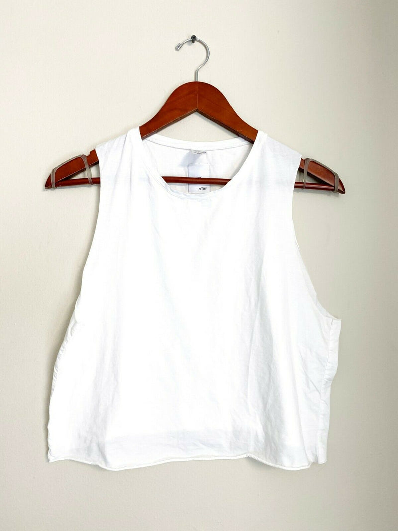 Tees by Turf Women's Size Large White Tee Tank Crop Shirt Cotton Sleeveless Top