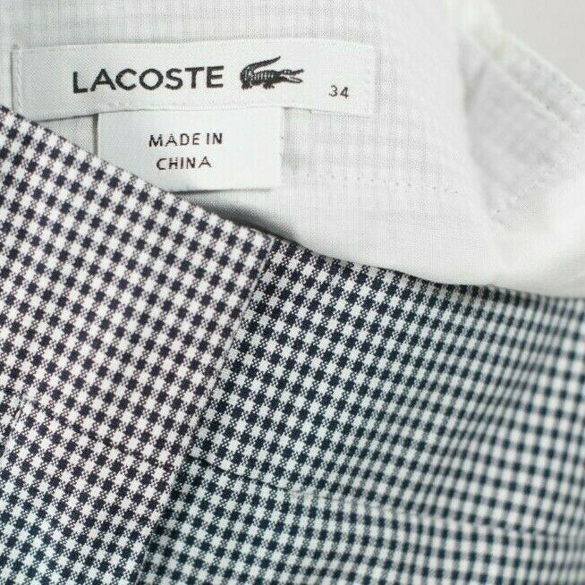 Lacoste Women Size 34 XS White Navy Blue Pants Checkered Gingham Print Trousers