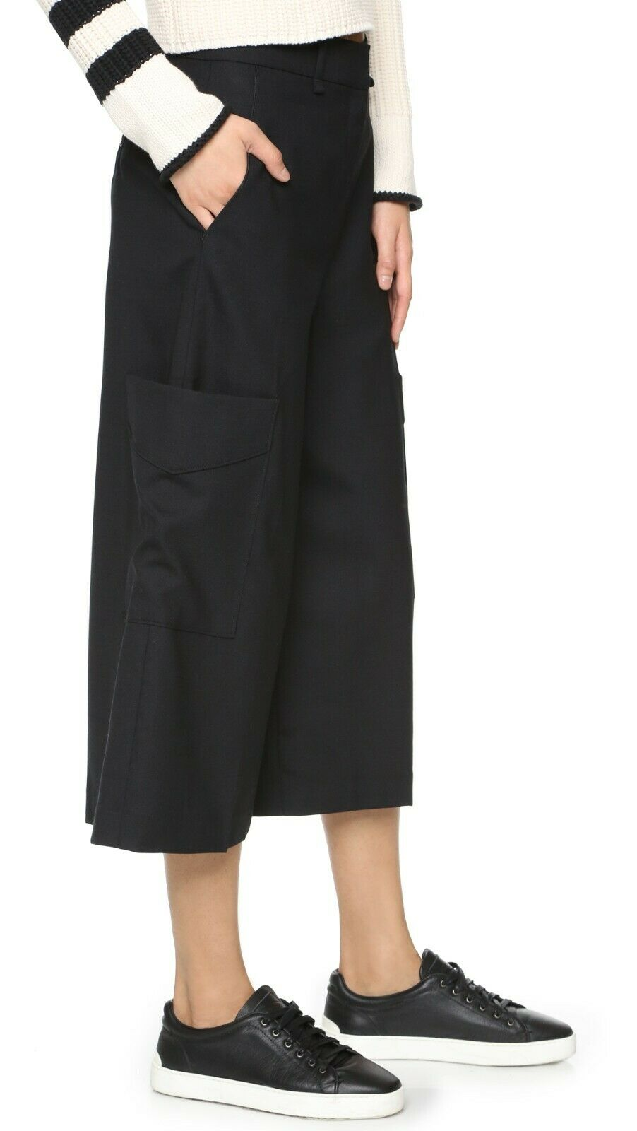 Rag & Bone Ellis Womens 4 Black Culottes Wide Leg Pants Trousers Cargo Pockets