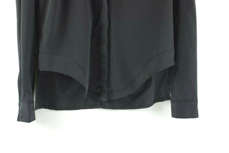 Lululemon Womens Size Small Black Blouse Button Up Long Sleeve Nylon Shirt Top