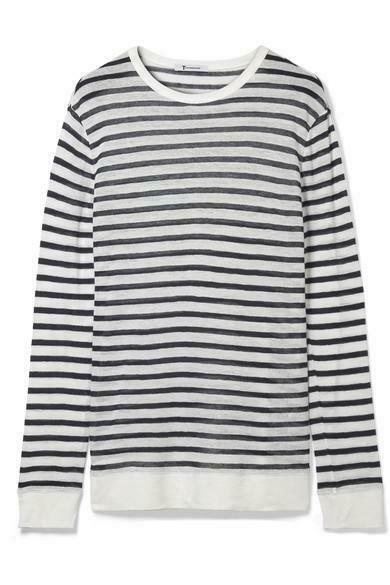 T Alexander Wang Womens Extra Small White Blue Top Striped Slub Sweater Shirt