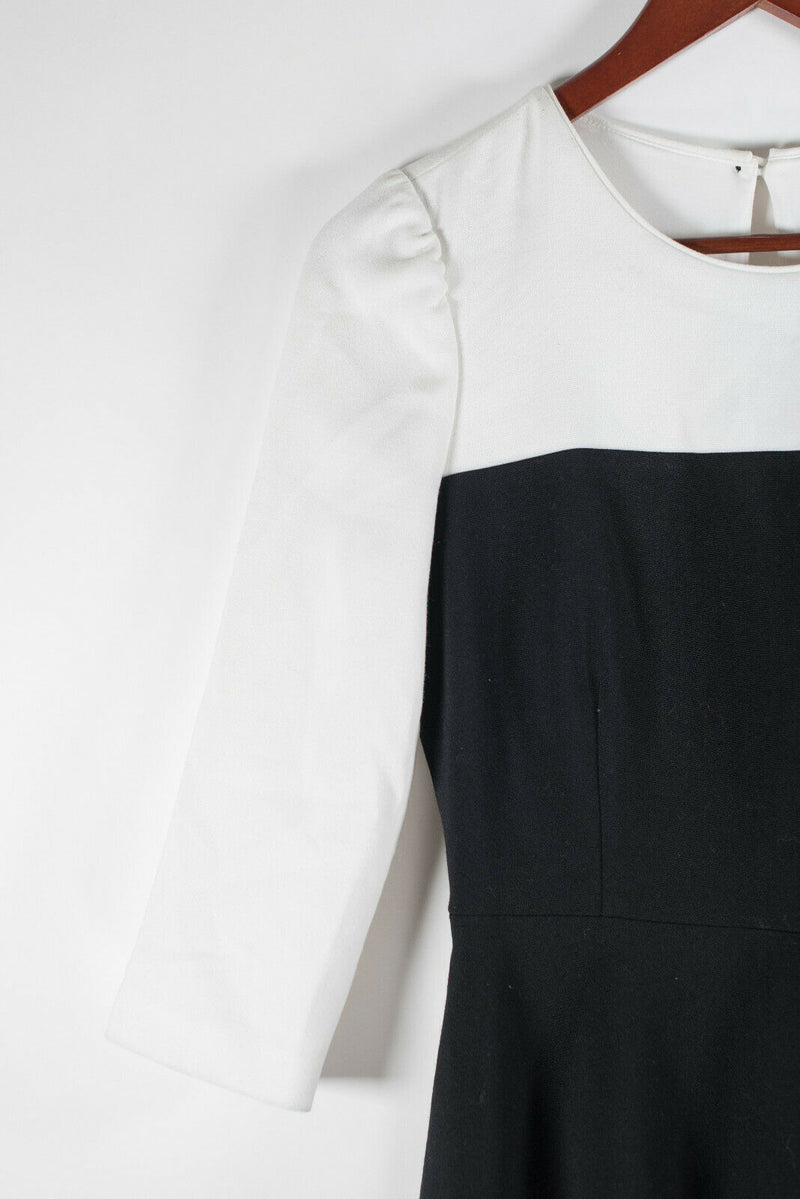 Kate Spade Womens Size 4 Small Black White Dress Olsen Colorblock 3/4 Sleeve NWT