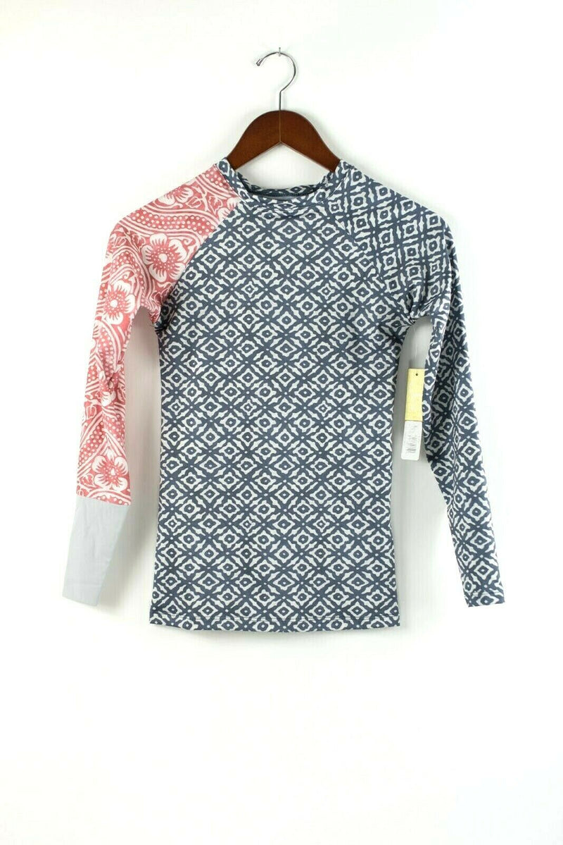 Seea Swimwear Womens Small Blue Pink Long Sleeve Floral Print Rash Guard Top NWT