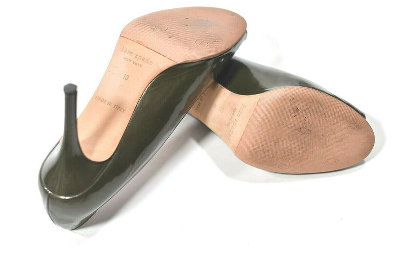 Kate Spade Womens Size 10 M Olive Green Pumps Leather Open Toe Heel MSRP $295