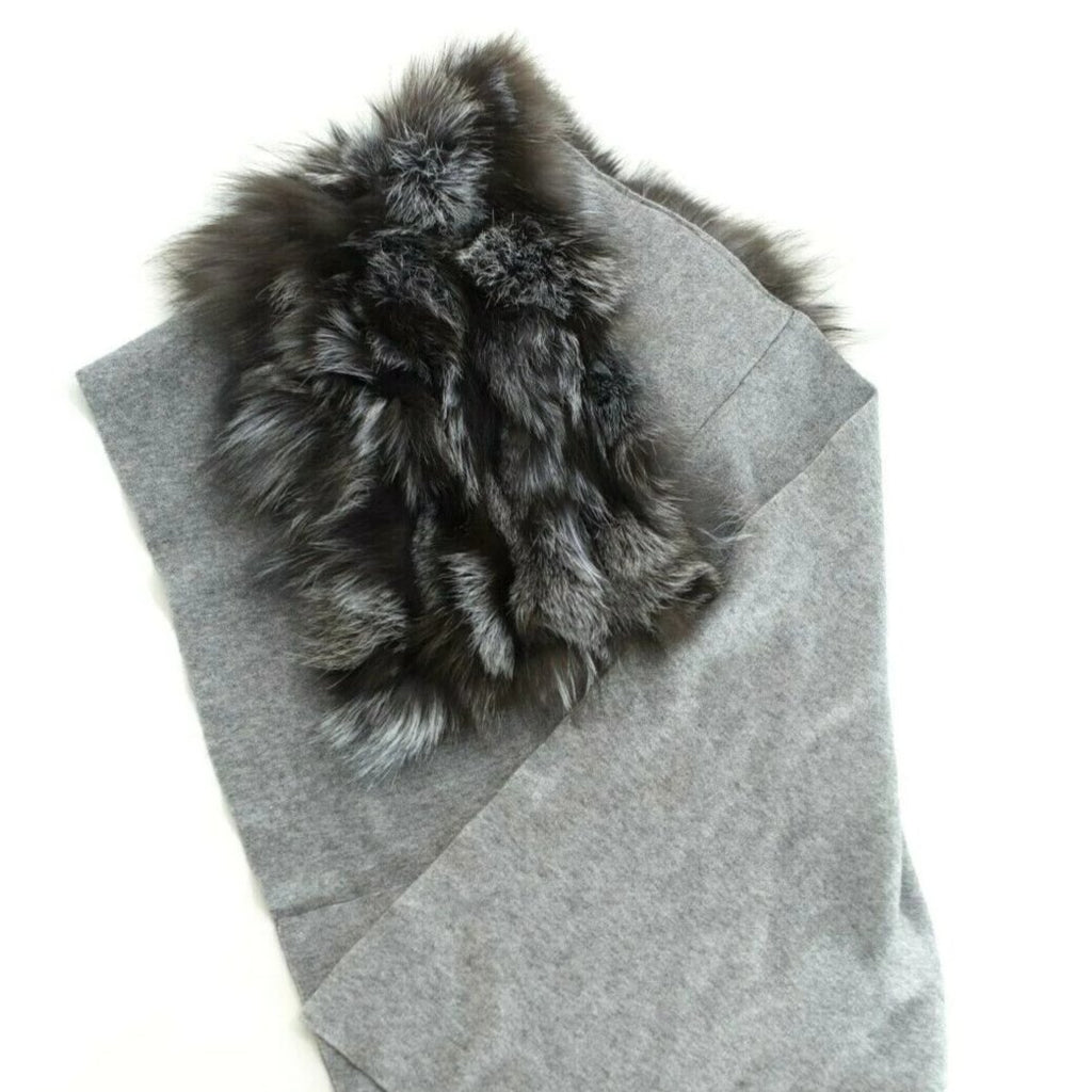 Womens Gray Brown Scarf Shawl Knit Genuine Fur Winter Outerwear Accessories