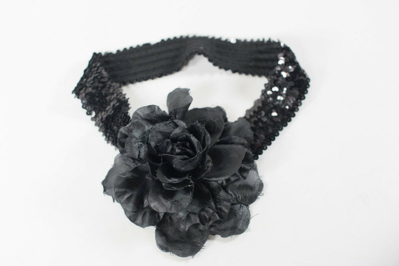 Handmade Women's Small Waist Belt Black Sequin Applique Flower Stretchy Slim