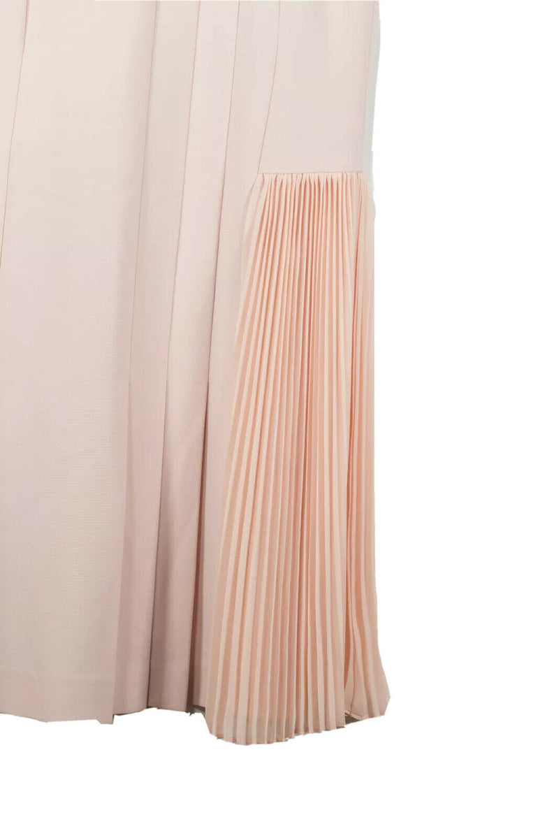 Theory Size 8 Pink Dress Pleated Crepe Midi Dress
