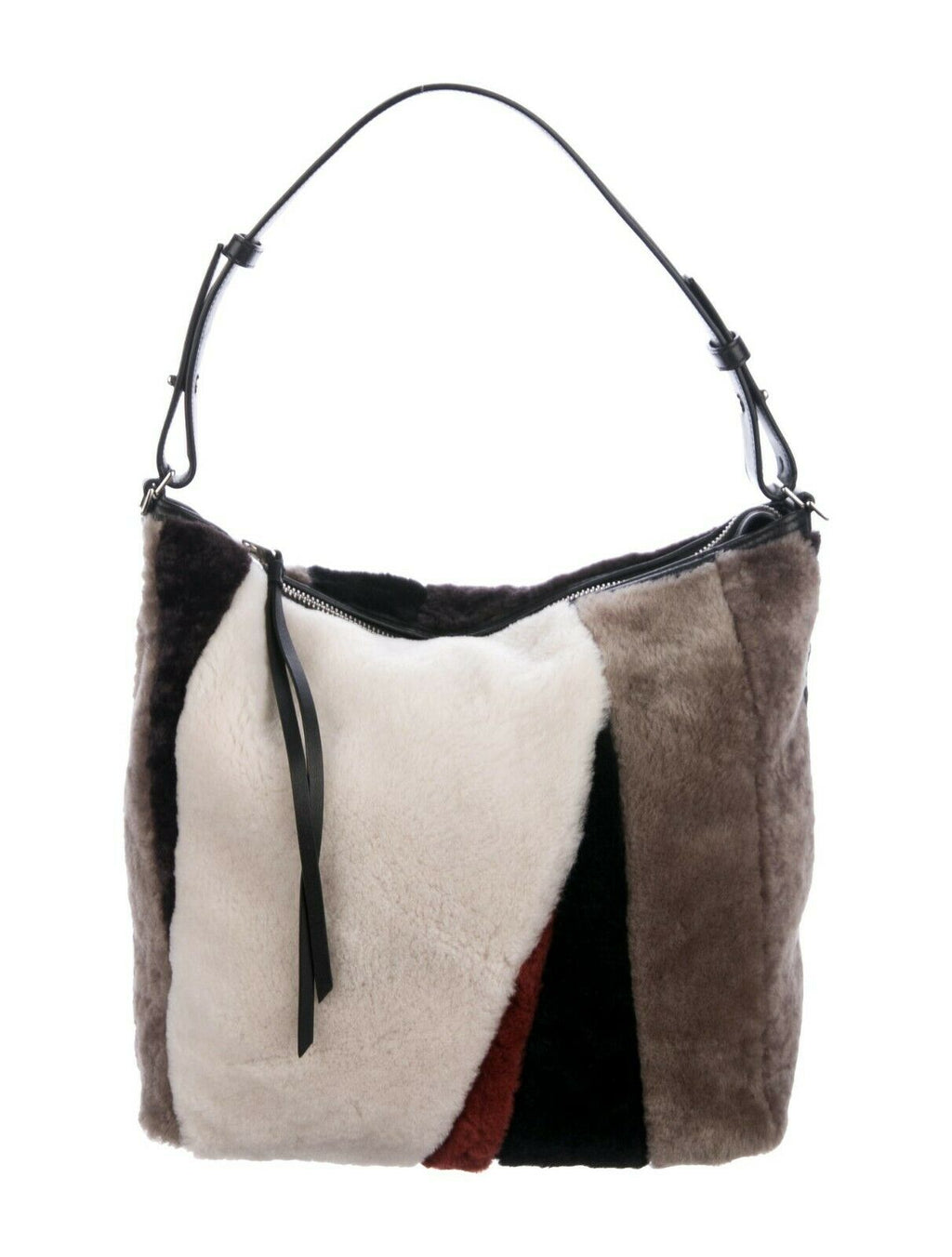 Allsaints Brown Cream Multicolor Crossbody Kita Shoulder Bag Shearling Zip Purse