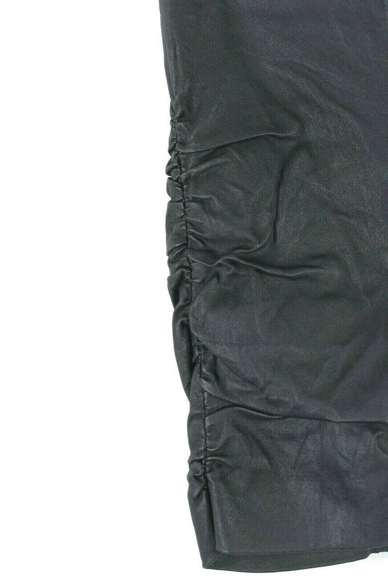 The Row Womens Size Small Black Mini Skirt Leather Ruched Pencil Hidden Zipper