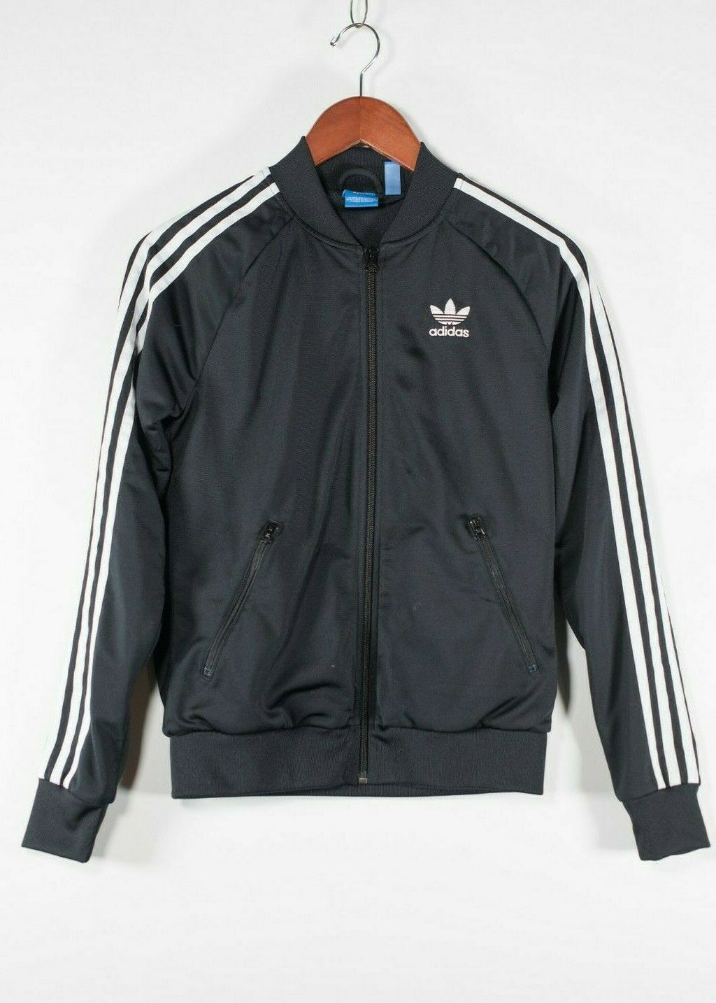 Adidas Originals Women's XS Black Track Jacket 3 Stripe Logo Zipper Pockets Coat