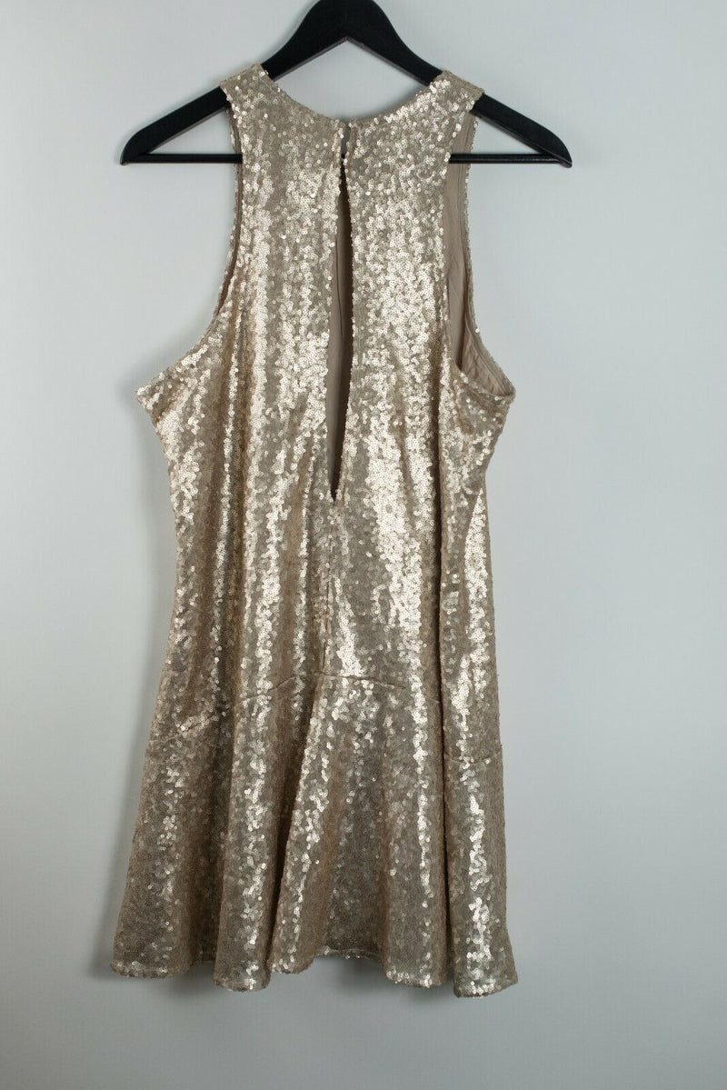Free People Womens Rose Gold Medium Liquid Shine Sequin Mini Dress