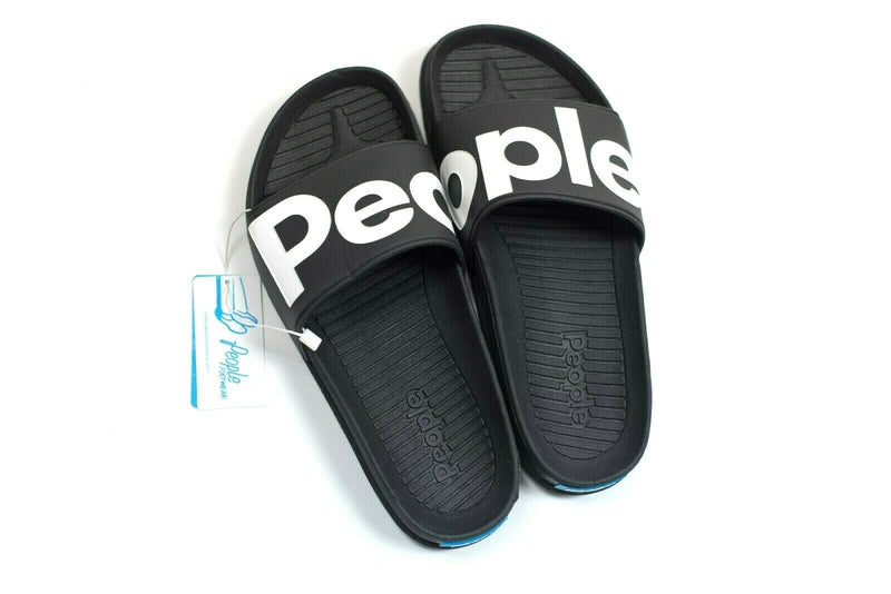 People Footwear Mens 6 Womens 8 Black Lennon Silde Logo Sandals New With Tags