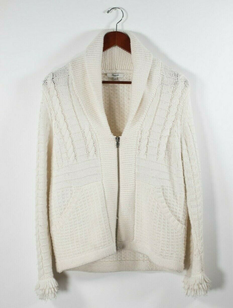 Madewell Womens Small Ivory Cardigan Zip Up Cable Knit Fringe Pocket Sweater Top