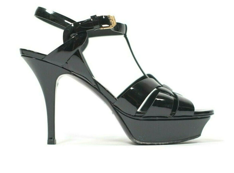 YSL Womens Size 37 Black Pumps Patent Leather Sandals Tribute