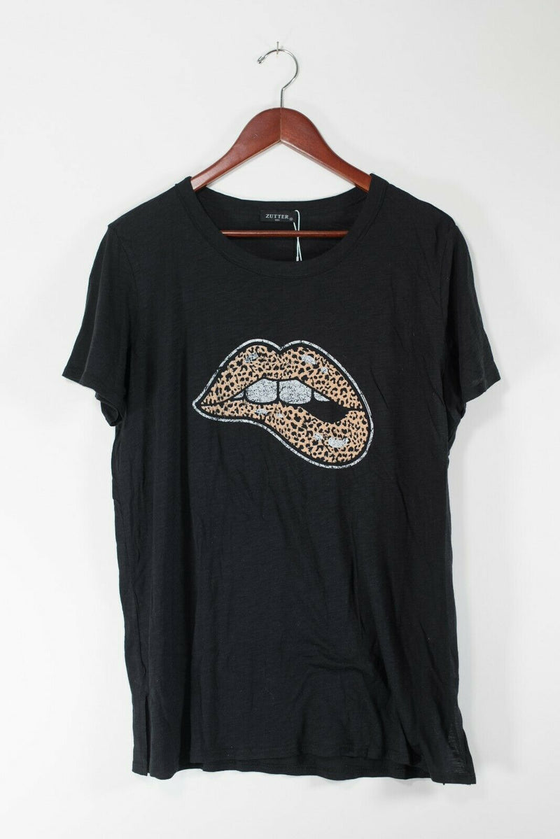 Zutter Women's Medium Black Lips Graphic T-Shirt NWT