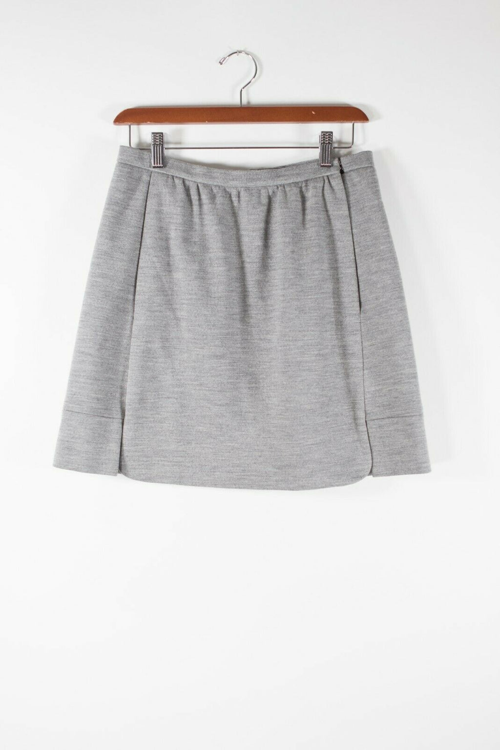 Balenciaga Womens Size 40 Gray Skirt Light Wool Felt Side-Zip A Line Mini Skirt