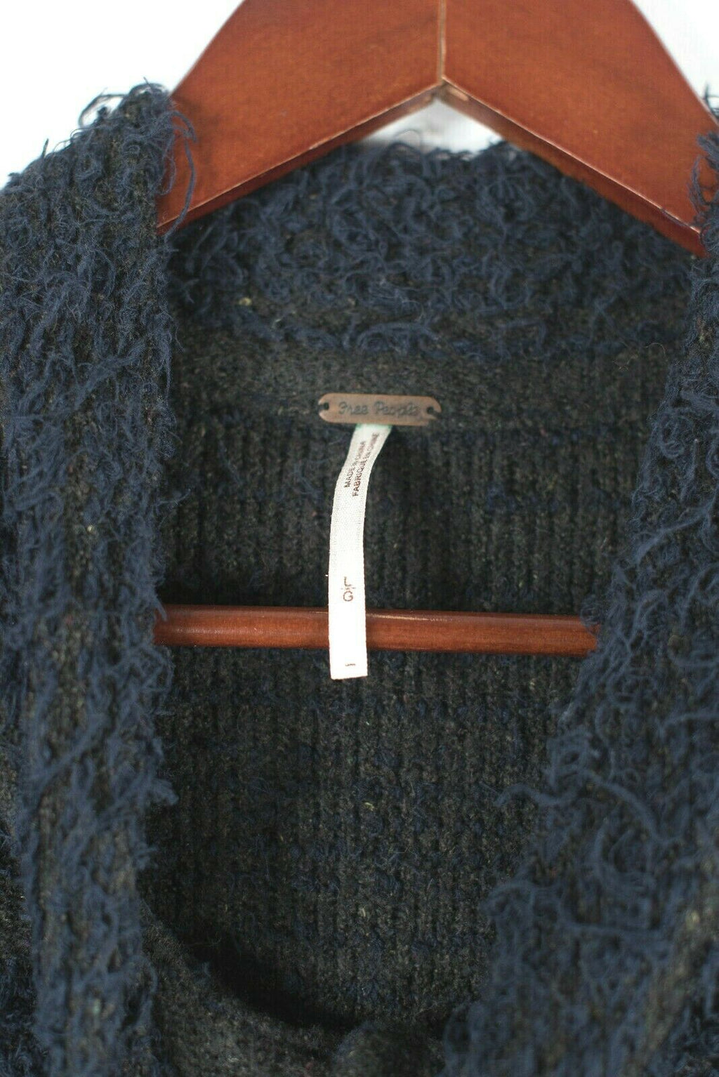 Free People Womens Large Navy Blue Jacket Tweed Striped Knit Coat Button Down