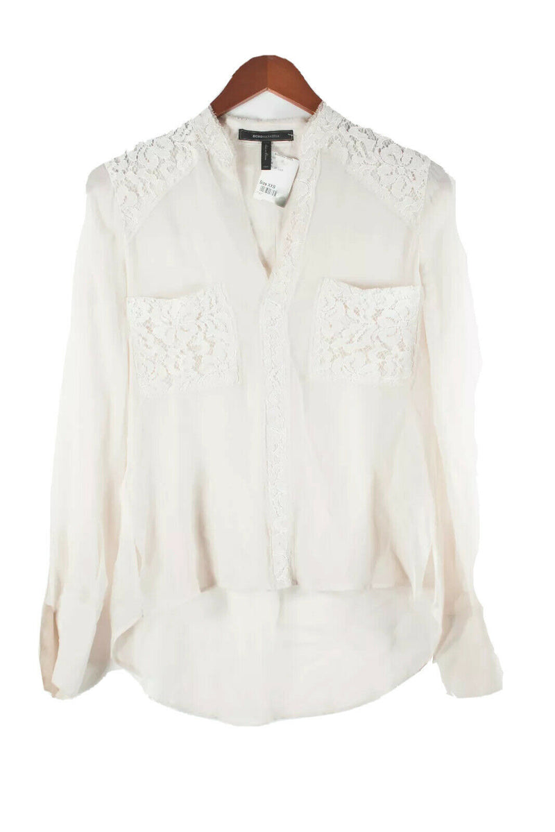 BCBG Maxazria Womens Size XXS Ivory Blouse Lace Silk Hi Lo Tee Shirt V Neck Top