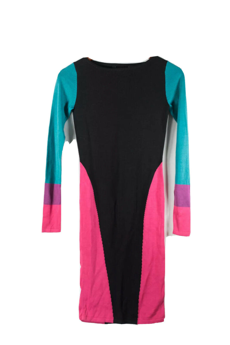 BCBG Maxazria Womens XXS Black Pink Teal Dress Color Block Silk Cotton Stretch