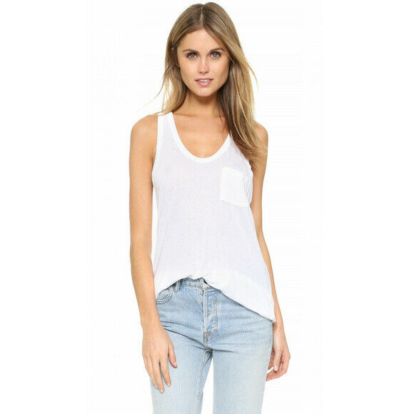 T by Alexander Wang Womens Small White Top Racer Back Classic Jersey Pocket Tank