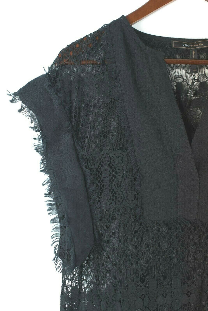BCBG Max Azria Womens Size XXS Black Dress Lace Fringe Trim Mini Dress Slip NEW
