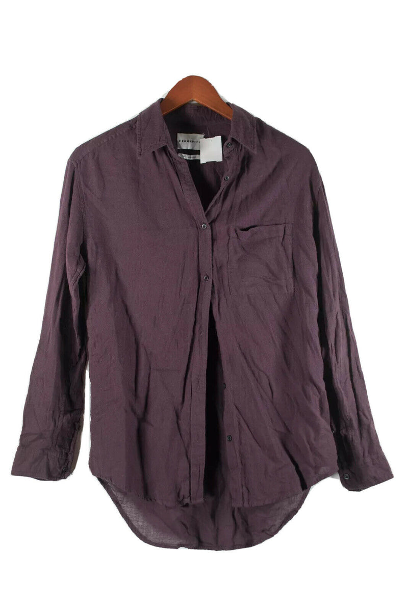 Aritzia Community Womens XXS Purple Burgundy Blouse Linen Solid Boyfriend Shirt
